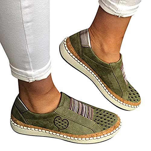 TnaIolral Women Casual Hollow-Out Shoes Round Toe Slip On Flat with Sneakers (US:8, Green 1)
