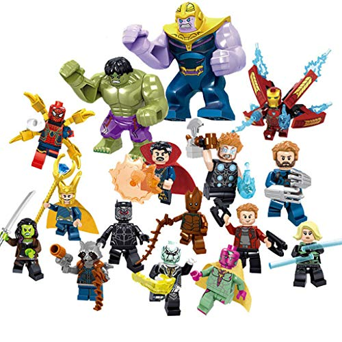 Huangou 16 Super Heroes Building Blocks Action Figures - Super Hero Minifigures Set with Accessories - Bricks Action Figures Toy (2in, White)