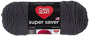 RED HEART E300.3950 Super Saver Yarn, Solid-Charcoal