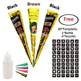 Temporary India Tattoo Kit,3Pcs 2 Colors Paste Cones Body Art Painting Drawing With 60 Pcs Adhesive Stencil,1 Plastic Bottle and 4 Plastic Nozzles(Black,Brown)