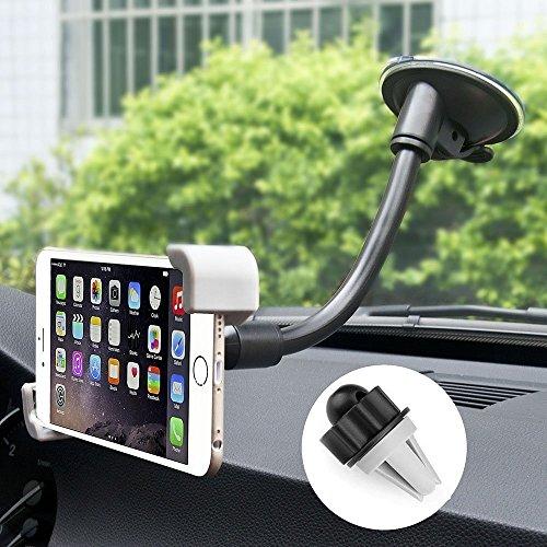 iVoler® [2-in-1] Supporto Auto Smartphone, Regolabile Porta Cellulare Auto Universale per Cruscotto Dashboard Parabrezza, 360 Gradi di Rotazione per iPhone 7 7 plus 6s Plus 6s 6 Plus 6 5s 5c 5 4s, Sam