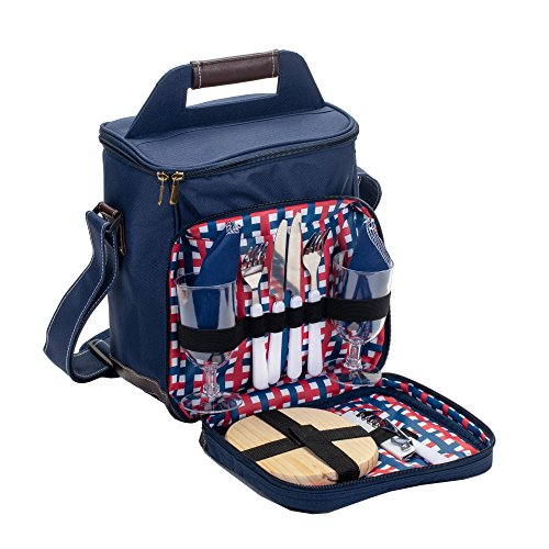 Class Collections 11 Pc Two Person Wine and Cheese Insulated Picnic Cooler Bag Set, Navy (Bag Picnic Set)