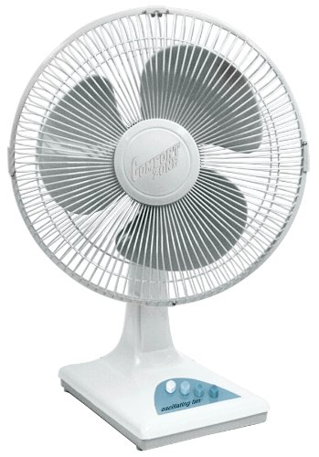 (Comfort Zone CZ161WT Quiet 3-Speed 16-inch Oscillating Table Fan with Adjustable Tilt)
