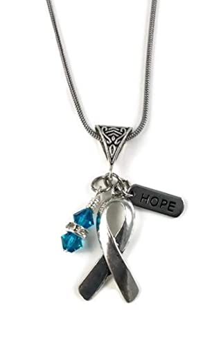 Amazon Com Ovarian Cancer Hope Necklace Silver Awareness Ribbon With Teal Crystal Dangle Handmade