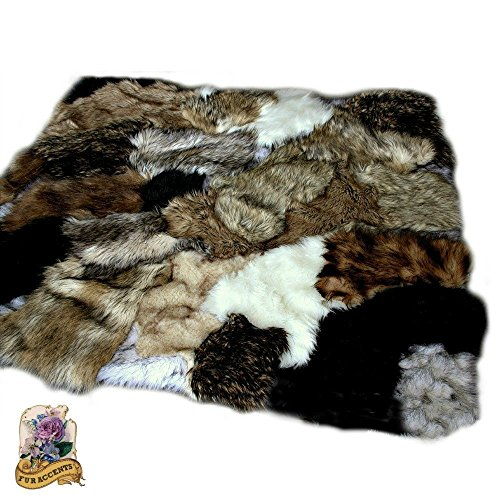 Lion 8' Plush (OOAK Premium Faux Fur Art Rug / Animal Skin Pelt Throw Rug / Patchwork Design. Deer Lion Wolf bear Rabbit Mink Chinchilla (5'x8'))