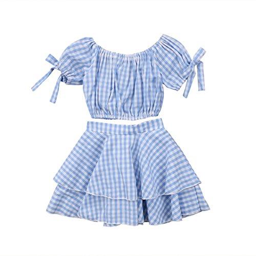 hirigin Toddlers Girls 2pcs Skirt Set Off Shoulder Plaid Crop Tops+Layered Knee-Length Short Dress (Blue, 2-3T) - Top Layered Skirt