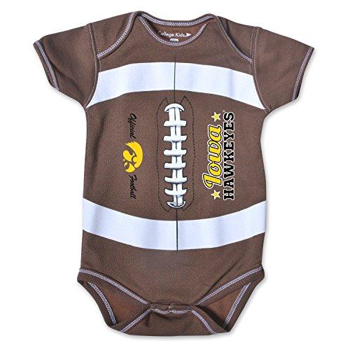 NCAA Iowa Hawkeyes Kids MVP Football Bodysuit, 0-3 Months, Brown (Brown Hawkeyes Football Iowa)