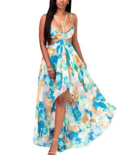 Vestido de Mujeres Bohemia sin Espalda V-Cuello Largo Vestido de la Playa 5