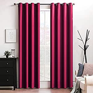 "MIULEE 100% Blackout Curtains Thermal Isulated Solid Grommet Curtains/Drapes/Shades for Bedroom Living Room 2 Panels, 52"" x 84"", Burgundy Red"