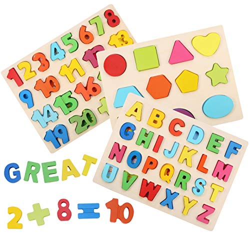 3-Pack Wooden Puzzle Boards Kid Toys Set - Big Numbers Shapes Alphabet ABC Toddlers Peg Puzzles for Boys Girls