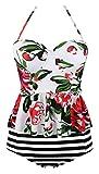 Angerella White Bikini Floral Printed Swimwear Retro Vintage Bathing Suits Tankini Swimsuits for Women,White,3XL