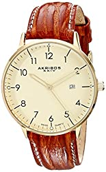 Akribos XXIV Men's Retro Swiss Quartz Cream Dial Gold-tone Stainless Steel Brown Leather Strap Watch