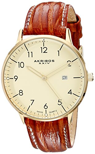 Akribos XXIV Men's Retro Swiss Quartz Cream Dial Gold-tone Stainless Steel Brown Leather Strap Watch