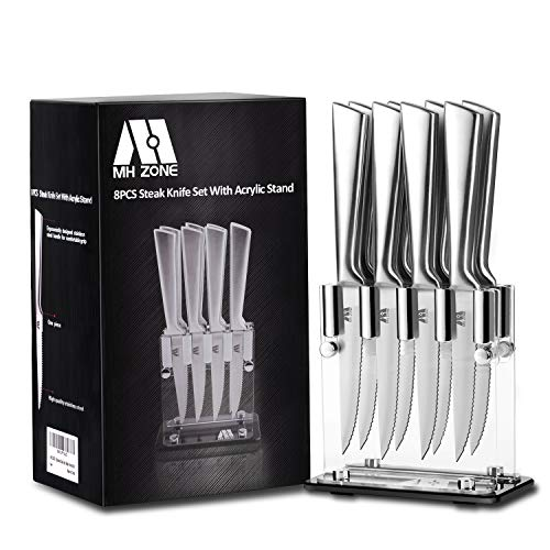 Steak Knife Set, MH ZONE Premium Stainless Steel Steak Knife Set of 8 with Acrylic Block, Perfect Christmas ()