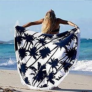 Toalla de playa redonda Hippie Ronda Tapiz de Mujer Ronda Mandala Beach con flecos Toalla Yoga Mat Bohemian mantel | DeHippies.com