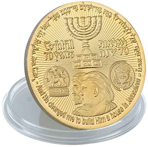 hujukuludusu Trump Commemorative Coin Gold Plated Coin Jewish Temple Jerusalem Israel