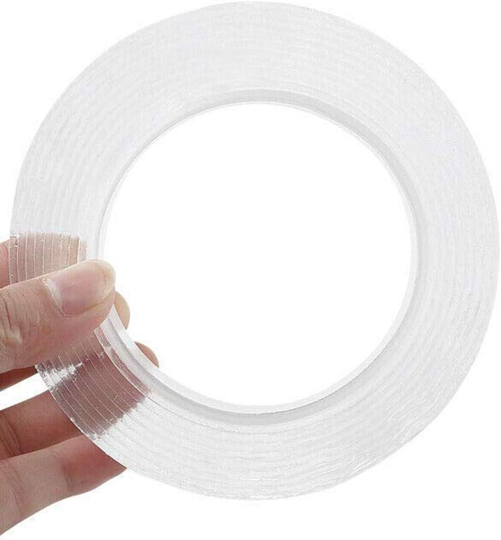Cinta adhesiva transparente sin dejar rastro 5 m de cinta adhesiva Nano extra/íble resistente al calor reutilizable reutilizable lavable transparente y de doble cara