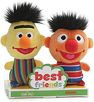Set 4 stuffed 18cm sesame street bert ernie elmo cookie original muppets new