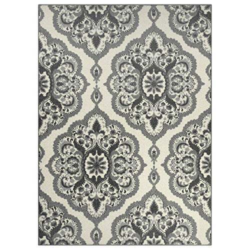 Maples Rugs Vivian Medallion Area Rugs for Living Room & Bedroom [Made in USA], 5 x 7, Grey