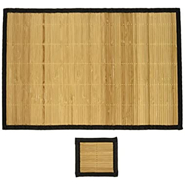 Bamboo Placemats Set of 6 with 6 Coasters - Kitchen Dining Everyday Use, Easy to Clean, - Black Border with Mesh Backing