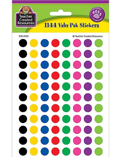 Teacher created resources colorful circles mini stickers value pack multi color 4743