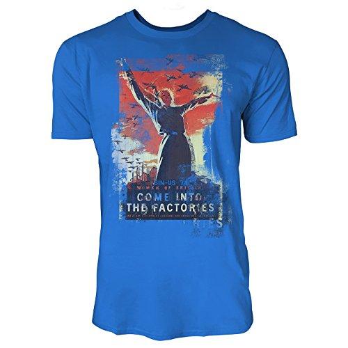 SINUS ART® Come Into the Factories Herren T-Shirts stilvolles royal blaues Fun Shirt mit tollen Aufdruck