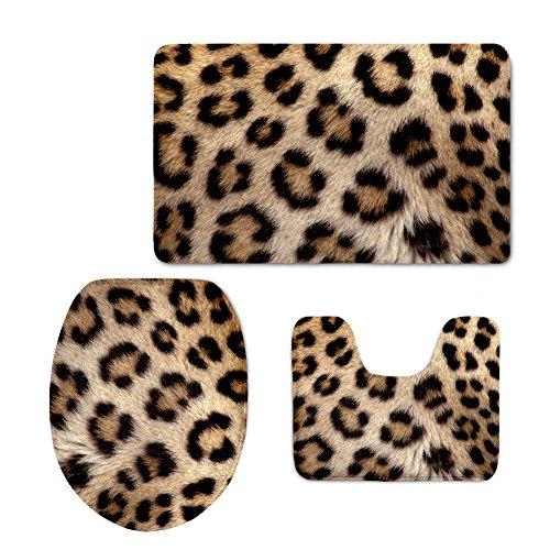 HUGSIDEA Sex Leopard Pattern Soft Flannel Bathroom Mat Set Contour Rug Lid Toilet Cover Bath Carpet 3 Piece by HUGS IDEA