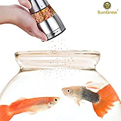 SunGrow Fish Food Grinder - Crusher And Dispenser For Food Pellets And Flakes – Adjustable Coarseness Level - Stainless Steel Body, Durable And Rust-resistant