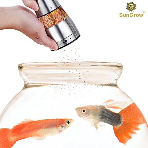 Colored Fish Pellets (SunGrow Fish Food Grinder - Crusher And Dispenser For Food Pellets And Flakes – Adjustable Coarseness Level - Stainless Steel Body, Durable And Rust-resistant)