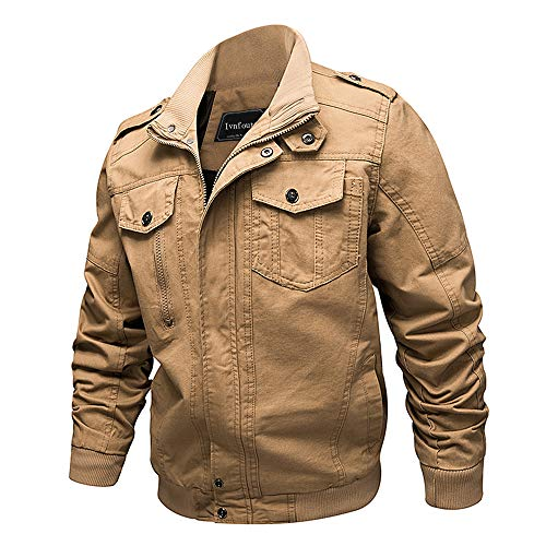 Ivnfout Men's Casual Winter Cotton Military Jackets Windproof Windbreaker Outdoor Coat(2701Khaki-M) ()