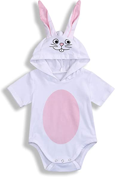 US Easter Newborn Kids Baby Girl Boy Bunny Hooded Romper Cotton Outfit Bodysuit