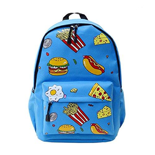 Demarkt Viaje Mochila hamburguesas Chicas Chicos Escolar Mochila Bolso de hombro(hamburguesa marina) hamburguesa cielo azul