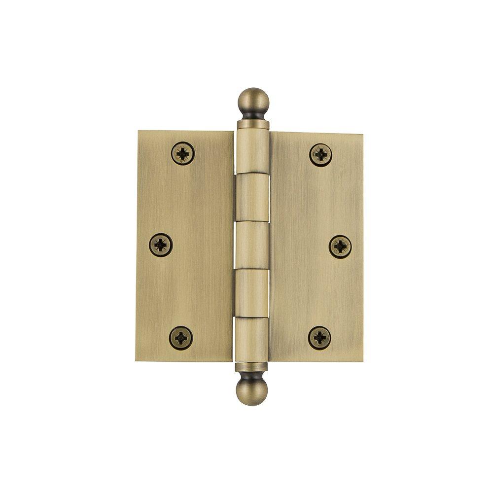 Vintage Brass 3.5\ Vintage Brass 3.5\ Grandeur Hardware 808988 3.5  Ball Tip Residential Hinge with Square Corners, 3.5  x 3.5 , Vintage Brass