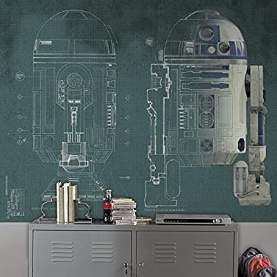 RoomMates JL1402M Ultra-Strippable 6' x 7.5' Star Wars R2-D2 Prepasted Mural