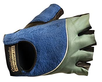 Gel Terry Back Gloves, Large, Blue/Grey, Leather Palm, Spandex/Terry Cloth Back