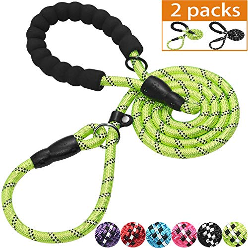 Haapaw Slip Lead Dog Leash with Comfortable Padded Handle Reflective, Mountain Climbing Rope Dog Training Leashes for Large Medium Small Dogs(2 Packs, 6 FT) (Slip Leash, Black/Green)