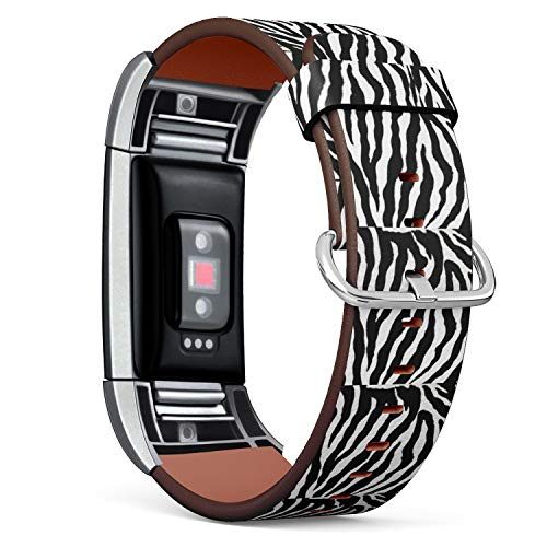 Compatible with Fitbit Charge 2 - Leather Band Bracelet Strap Wristband Replacement with Adapters - Zebra Skin