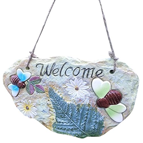 Frog Garden Sign (Outdoor Hang Wall Welcome Plaque Sign for Garden Decor, Frog and Bettle Bee Style #A5489 (pattern D))