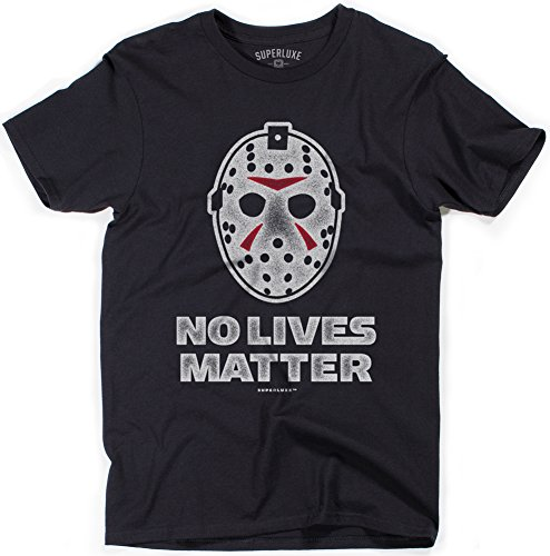 (Superluxe Clothing No Lives Matter Mens Halloween Funny Ski Mask Jason Costume T-Shirt, Black,)