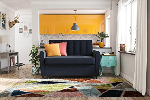 (Novogratz Brittany Sleeper Sofa Sleeper with Memory Foam Mattress, Blue Linen, Twin)