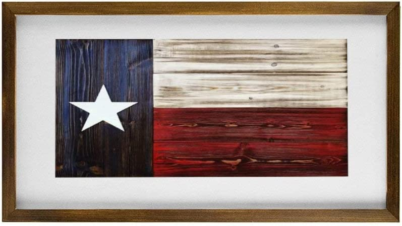 DONL9BAUER Texas Flag Patriot Wooden Framed Sign Vintage Wood Texas State Flag Wall Hanging Modern Rustic Farmhouse Decor Wall Art for Kitchen Living Room