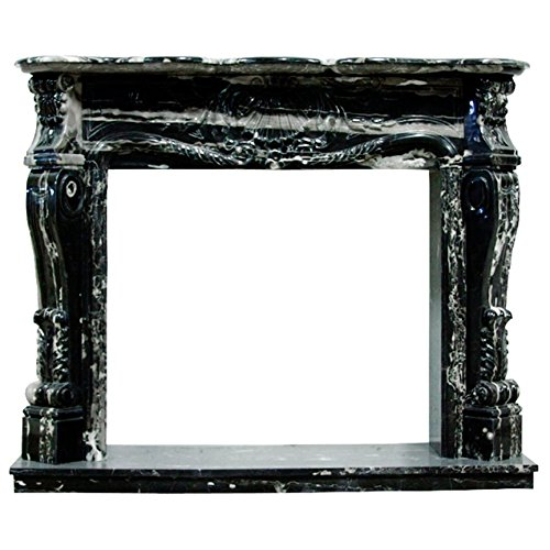 Black and White Polished Marble Fireplace Surround FPS-05