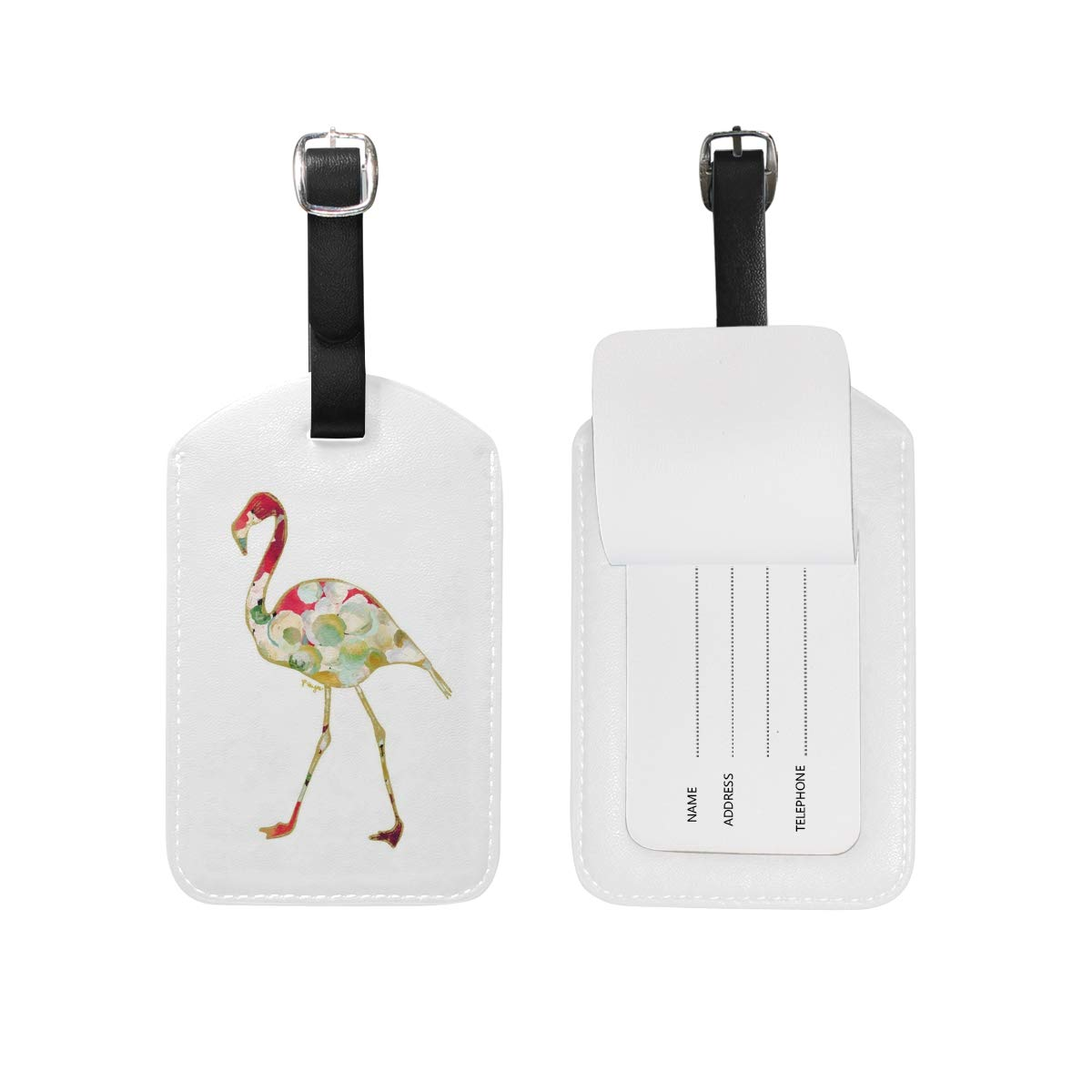 Aibileen Pink Flamingo Art Design Luggage Tag Set of 1 Cruise Ship Suitcase Label Personalized