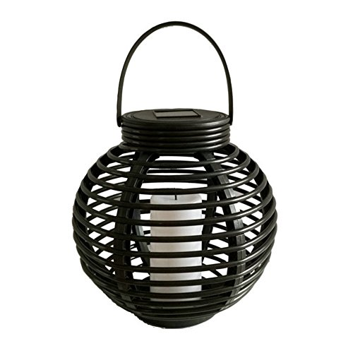 Yvonne Solar Powered Lantern, Round Rattan Solar Powered LED Garden Lantern,  Flickering Flame Candle
