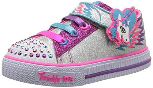 Skechers Kids Girls' Shuffles-Party Pets Sneaker,Silver/Hot Pink,7 Medium US Toddler