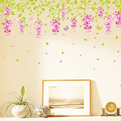 Pink Wisteria Flower Vines and Butterflies Removable Wall Decal