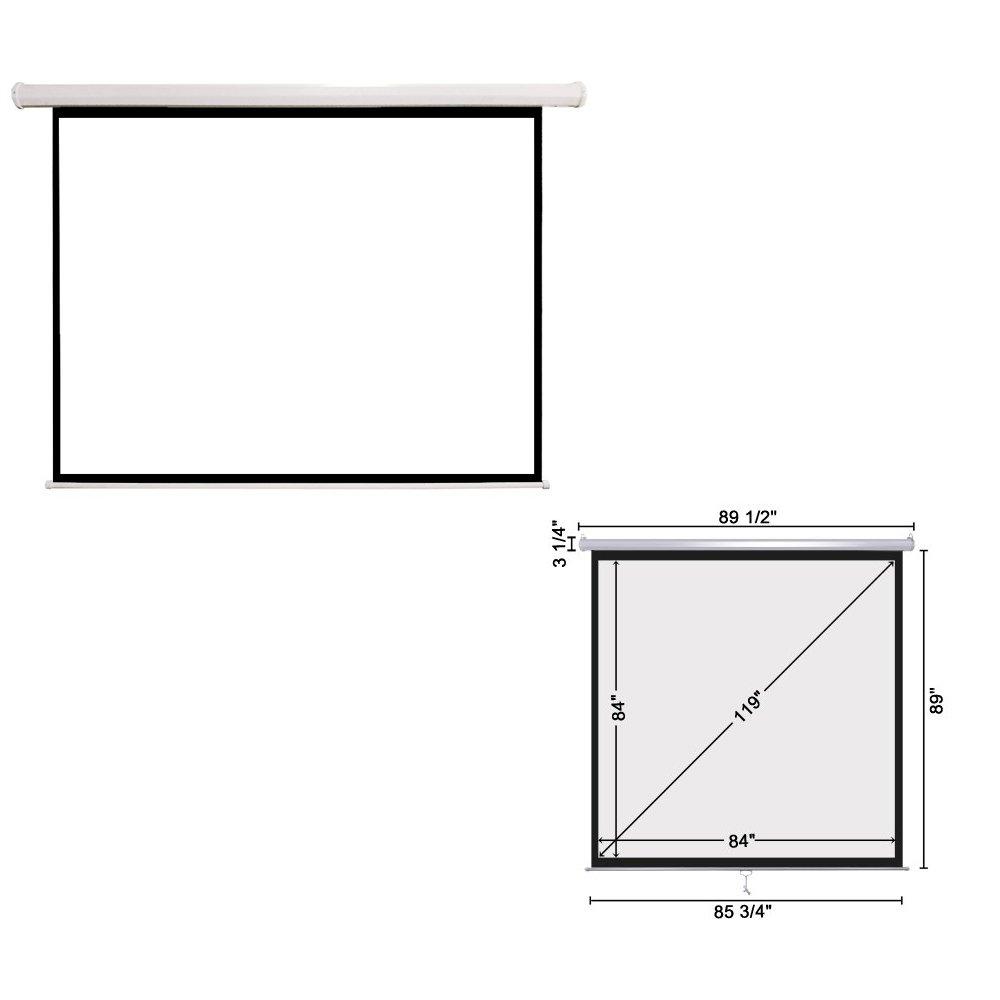 84*84* Retractable Projector Screen Manual Pull Down Screen –Home Theater/Cinema or Presentation Platform ,119''L
