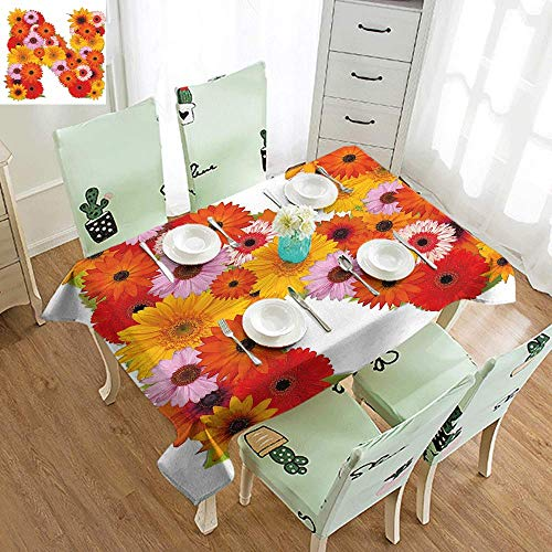 DILITECK Elegance Engineered Tablecloth Letter N Vibrant Flowers Summer Color Scheme Gerbera Daisies Bouquet Style N Sign Alphabet Indoor Outdoor Camping Picnic W50 xL80 Multicolor