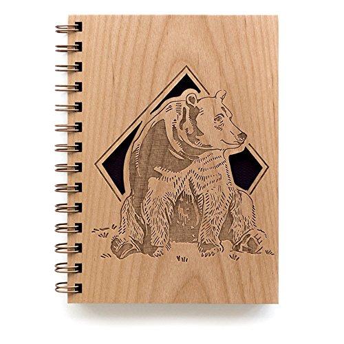 - Grizzly Bear Laser Cut Wood Journal (Notebook/Birthday Gift/Gratitude Journal/Handmade)