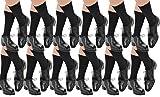 12 Pairs Men's ExtraFine Merino Marcoliani Mid-Calf Italian Dress Socks: 12 Black